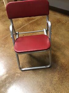 Vintage Mid Century Aluminum Folding Child Chair Red Vinyl