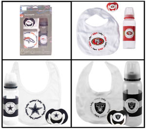 NFL Kickoff Collection 3 Piece Baby Infant Gift Set Bib Pacifier Bottle