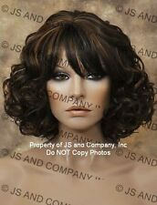 HUMAN HAIR Blend Curls Wavy Off Black Auburn mix Versitile wig WBSE 1B-30
