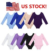 US Girls Ballet Dance Leotard Kids Gymnastics Stretchy Dancewear Tutu Costume
