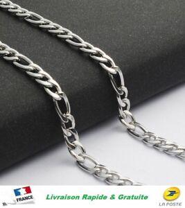 Collier HOMME Chaine Inox Maille FIGARO 4,5mm Acier Inoxydable Pochette Cadeaux