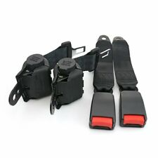 A Pair Retractable Seat Belt 2 Point Fixed Harness Clip Safety Belt Black Auto