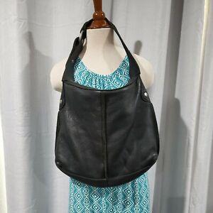Lucky Brand Vintage Inspired Hobo Bag Black Pebbled Leather Shoulder Bag
