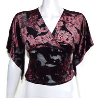 Vintage 90s Deep Red Velvet Sheer Crop Top Gothic Boho Flutter Sleeve sz XS