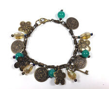 "Handmade Bracelet Charm 6.5"" Vintage Brass Metal  Flower Teal  Stone Crystal New"