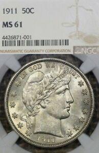 1911 50C NGC MS61 Barber Half Dollar - White & Lustrous