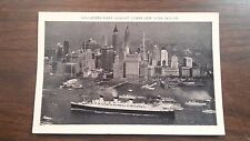 QUEEN MARY SHIP against lower New York skyline.PHOTO POSTCARD NY