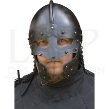 18GA Steel Medieval Raven Helmet - Epic Dark With Leather Liner Gift BR29