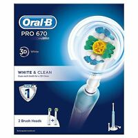 Oral-B PRO 670 White & Clean Electric Rechargeable Power Toothbrush with 2 Heads