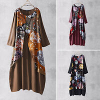 ZANZEA Women Vintage Long Sleeve Shirt Dress Floral Print Maxi Dress Ethnic Tops