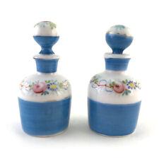 Pair: Antique French Miniature Enameled Porcelain Perfume Vanity Scent Bottles
