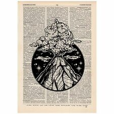 Volcano Circle Dictionary Print OOAK, Art, Alternative, Unique, Gift,