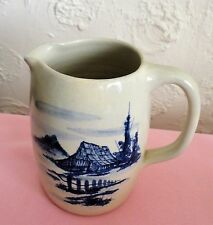 """P R Storie Pottery PITCHER Marshall Texas Country Pastoral Cobalt Blue 6"""" tall"""