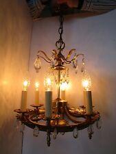 "Vintage Brass & Glass Ceiling Chandelier Light Fixture 6 lights  17""T Regency"