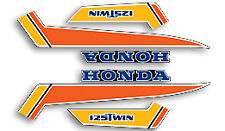 79-81 Honda CB125T EURO - Fuel Tank Pin Stripe Decals Side Covers Set BLACK RED