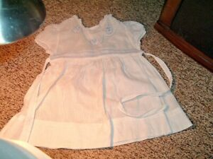 VTG WHITE BABY OR DOLL DRESS  -BLUE EDGING AND CLOWN DESIGNS