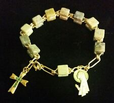 Square Stones & Religious Charms Connemara Marble Jewelry Bracelet W/Marble