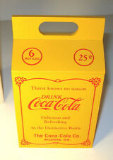 """COCA-COLA BOX 20's Style 6 pack Bottle Carrier Coke 7"""" Yellow Willitts 1990 MIB"""