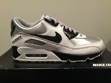 NIKE AIR MAX 90 ID Black White Silver Gry Leather 10 Hardcore Gabber THUNDERDOME