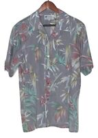 Vintage Hawaiian Shirt X-Large XL Gray 80s Miami Vice Cotton Hawaii Bamboo