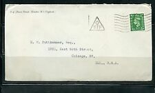 GREAT BRITAIN GEORGE VI COVER WITH TRIANGLE -O- MTP MARKING TO CHICAGO AS SHOWN