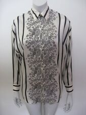 Vintage GIANNI VERSACE Silk Striped Floral Blouse Shirt Tag Size 38