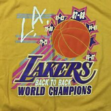 VTG Vintage 80s 1987 Los Angeles Lakers WORLD CHAMPIONS Back-to-Back t-shirt XL