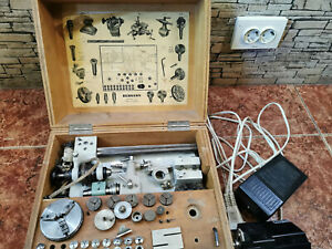 BERGEON 1766-A LATHE 8mm Professional watchmaker BOX & accessories Swiss made !