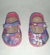 Adorable Toddler Girl's TOMS Size 3 T  Mary Janes Flower Water Color Print Shoes