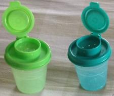 Tupperware S&P Shakers Set 2-oz Midgets Size Salt & Pepper Aqua & Green New