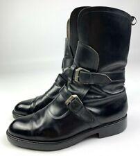 CESARE PACIOTTI Black Leather Boots Size 8 Men's Moto Biker Shoes Silver Buckle