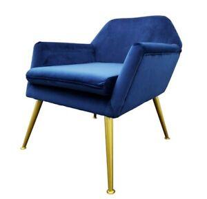 Royal Blue Velvet Designer Chair Armchair - Gold Brushed Iron, Premium Design