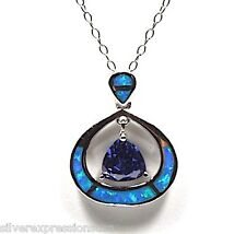 Tanzanite & Blue Fire Opal Inlay 925 Sterling Silver Pendant w/Chain Necklace
