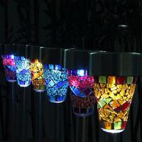 3Pc Solar Power Mosaic Path LED Light Outdoor Garden Stake Yard Landscape Lamp