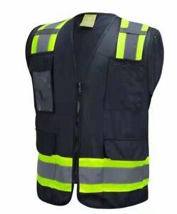 Surveyor Black Two Tones Safety Vest ,With Multi-Pocket Tool/ Photo ID