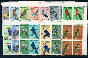 BOTSWANA 1967 DEFINITIVES SG220/233 BIRDS BLOCKS OF 4 MNH