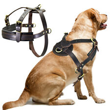 Heavy Duty Dog Leather Training Harness Large Dogs Working Pulling Vest Labrador