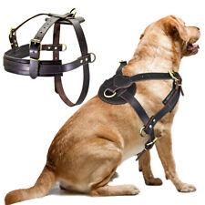 Large Dog Training Harness Heavy Duty Genuine Leather Extra Big Dog Pulling Vest