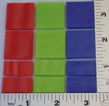 12- Mix Sizes And Colors All 3mm Opaque Red, Green, & Blue Bullseye Glass 90 Coe
