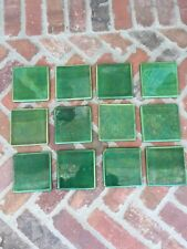 """49 Exquisite Antique Green Tile 4"""" X 4"""" Japanese Made"""