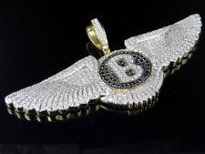 Mens 10K Yellow Gold Bentley Flying B Treated Black Genuine Diamond Pendant 13Ct