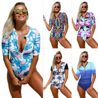 Women Surfing Sexy Red Blue Leaves Zip Front Half Sleeve One Piece Swimsuit