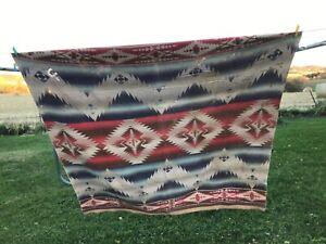 Vintage Western Cotton Blanket With Wear