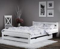 White Wooden Pinewood Bed Frame Single Double Teen Slats 3ft 4ft 5ft Kingsize