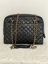 AUTHENTIC CHANEL VINTAGE QUILTED CAMERA BAG IN BLACK GOLD HARDWARE