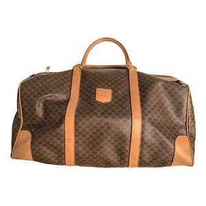 Celine Macadam Large Boston Duffle Bag 50cm Brown Leather PVC Authentic