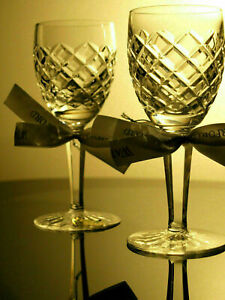 Waterford Crystal Comeragh White Wine Glass Pair Vintage Mint