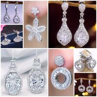 Multi-styles 925 Silver Drop Earrings Women White Sapphire Jewelry A Pair/set