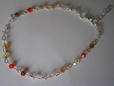 Silver Ankle bracelet - Shades of Orange Crystals - 9.5 inch & extender