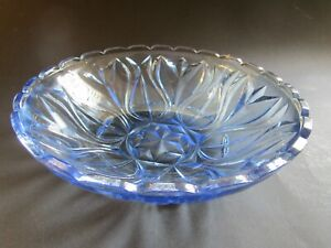 BRIGHT LIGHT BLUE LARGE GLASS BOWL DEEPLY PATTERNED